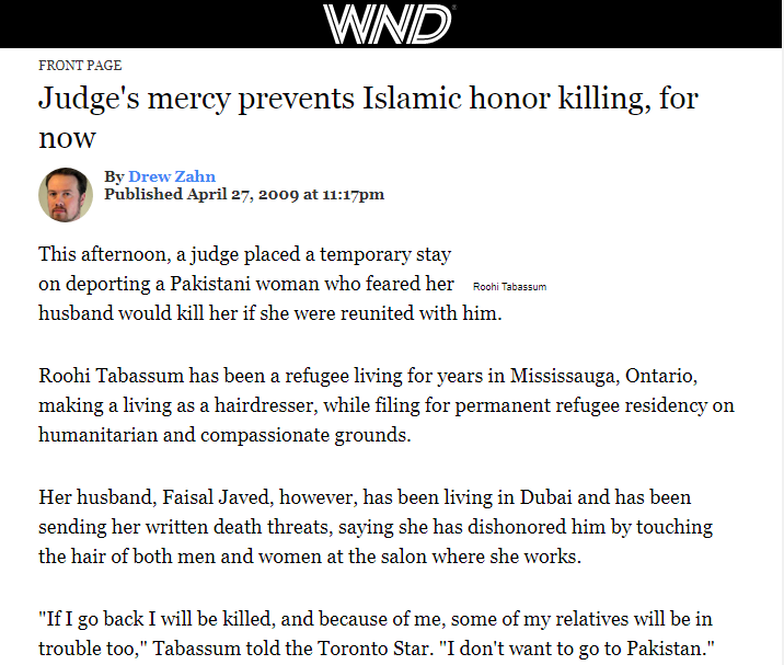 Judge's mercy prevents Islamic honor killing, for now